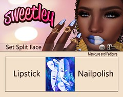 Sweetley - Split Face add (Sweetley SL) Tags: sweetley secondlife sl avatar maitreya catwa bento splitface beauty lipstick cosmetics nailpolish applier hud copyright original newrelease mesh trendy stylish fashion creative art style mask set blue white hands free gift fashionleagueevent 0l