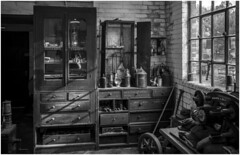 Beamish Open Air Museum, County Durham. Lamproom workshop (Pitheadgear) Tags: beamish countydurham black white blackandwhite mono monochrome workshop lamproom colliery mine pit mining coalmining
