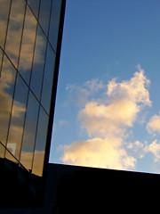 Looking Up in Liverpool, England (teresue) Tags: 2017 uk unitedkingdom greatbritain england merseyside liverpool lookingup avenuehq mannisland clouds reflection