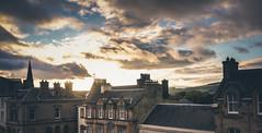 Peebles Rooftop Sunrise (ianbrodie1) Tags: peebles rooftops chimneys building sunrise cloud scotland borders scottish church spire hills