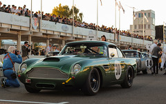 Sexy curves with black wheels (NaPCo74) Tags: goodwood revival 2018 lord march duke richmond sussex chichester england english british britain classic historic car race racing motor circuit aston martin db4 gt db 4 canon eos 700d green curves sexy