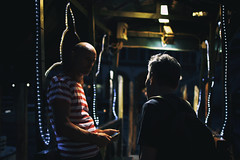 Pause Breaker (Marta Marcato) Tags: venice venezia street streetphotography night light bokeh city boat phone people man men ride break pause nikond7200 italy italia veneto