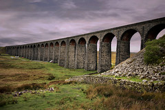 Ribblehead Viaduct. The viaduct was built between 1870 and 1874 with up to 1000 navvies working on the construction site. The viaduct is 400m (440 yards) long with 24 arches spanning across Batty Moss. (Glenn Birks) Tags: ribblehead viaduct yorkshire dales moor clouds rocks grass heather england grade 2 listed structure settle carlisle railway