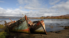Salen Fishing Boats! (captures.in.time) Tags: mull scotland salen fishing fishingboats boat net sail wreck wood abandoned fish sea bay spring summer sun beach coast coastline hills mountains seaside island