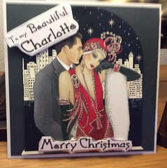 Special Personalised Christmas card (margaret.pilkington47) Tags: personalised christmascard recycledimage artdeco printedsentiment slategreybackingcard handmade