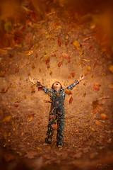 Joy of Fall ({jessica drossin}) Tags: jessicadrossin portrait child boy overalls plaid leaf leaves autumn fall orange blue season kid joy happy air flying wwwjessicadrossincom