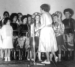The stage play (theirhistory) Tags: boy children kid girl school class form group pupils jumper trousers wellies shoes hat teacher costume rubberboots
