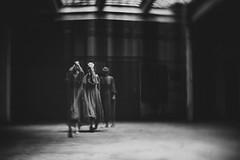 Coming Out... (Rosa H.LightArt) Tags: doubleexposure grain portrait composing mood dark darkart move blackandwhite monochrome availablelight