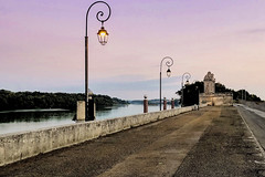 Rhône in the morning (le cabri) Tags: arles provence sunrise docks road pinksky old rhone water river mood fog quiet peaceful viewpoint outdoors architecture morning tourism travel iphone ancient history cloud soft morningrun peer stone landscape