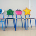 School chairs decorated by children