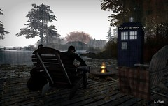 TARDIS Series: The Last of The Time Lords (Loegan Magic) Tags: secondlife whimberly doctorwho tardis lake timelord chairs deck sky trees