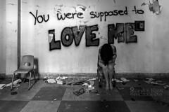. (sadandbeautiful (Sarah)) Tags: me woman female self selfportrait abandoned school graffiti abandonedschool chair bw monochrome