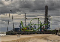 Casino Pier (scottnj) Tags: nj newjersey scottnj seasideheights boardwalk casinopier clouds beach sand ocean rollercoaster ferriswheel
