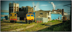Behind the Fortress Fence (Welsh Gold) Tags: cardiff celsa tremorfa works weighbridge shunting locomotives 08630 08389 gbrf shed 66774 rover way southwales