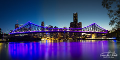 Violet Story Bridge (Theo Crazzolara) Tags: story bridge storybridge brisbane brisbaneriver river australia wueensland traveling vivid night lights highlight business party fridaynight colourful skyline cityscape city violet purple pink panorama