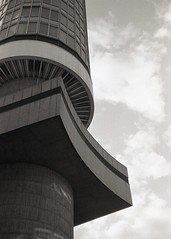 BT tower (OhDark30) Tags: olympus 35rc 35 rc 35mm film monochrome bw blackandwhite bwfp fomapan 200 rodinal bttower london 1964 concrete building telecoms architecture openhouse 2018