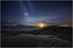 Moon and the stars (bjorns_photography) Tags: landscape nature night midnight water ocean moon moonlight galaxy milkyway photography clouds stars star