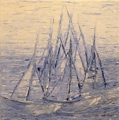 Yacht - Race (Jui Jah Fari) Tags: segeln segelboote sailing sailboots oilofcanvas oil oilpainting oilpaint art artist artwork kunst künstler blue blau regatta race juijahfari abstrakt abstract expressiv water yachtrace yacht