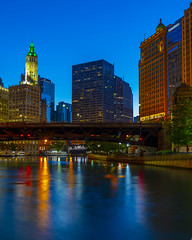Wabash in the Blue Hour (TheNextFifty) Tags: 5dsr 35mm morning lights chicago riverwalk bluehour ef35mm