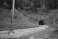 RhB loc. No.11 at Greifenstein tunnel lower gate (vladixp) Tags: fomapan foma fomapan200 praktica mtl5 flektogon k2 pf7250u 3600dpi 35mm yellowfilter filmscan 35mmfilm film bw bwfilm filmphotography negative scanned graubünden grigioni grisons svizzera schweiz switzerland suisse filisur