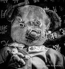 Day 293. (lizzieisdizzy) Tags: blackandwhite blackwhite black monochrome monotone mono monochromatic chromatic teddy oldbear youngbear bears ragged old lovable treasured teddyportrait toy