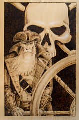 At The Helm (Jay Trefethen) Tags: jay bradford art drawing jollyroger nautical sea pyrography ship helm artist woodburning tref jaytrefethen jaytref vermont ©2018jaytrefethen pirate fantasy