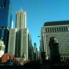Chicago (ultraviolence_lotus) Tags: sun buildings angles architecture chicago building bridge giant scary dark never again