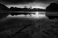 Sun break At Banff (Robert Grove 2) Tags: bw banff sunrise dawn water lake mountains landscape robertgrove