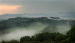 Evening Mist (kate willmer) Tags: mist trees sunset clouds rain tuscany italy