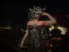 19 Is it any wonder I don't know who is behind this mask (Kylie Quinn) Tags: secondlife virtualworld bayouduchatnoir bayou dance cats halloween haunted
