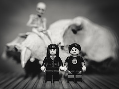 Happy Halloween from Lego Land (N.the.Kudzu) Tags: tabletop toys lego gothgirl spookyboy skull plastic miniature skeleton canondslr lensbabysol45 lightroom bw