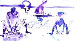 AFRICA TO THE NAKED 288 (eduard muntada) Tags: africa to the naked 288 sun river light mountains africanpeople boat simplicity watercolor purple blue