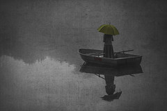 Lightbulbproject-B+W (Cindy_Clicks) Tags: lightbulb project boat umbrella yellow misty ethereal