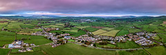 Ballymagorry Village- Strabane Panoramic (Gareth Wray - 10 Million Views, Thank You) Tags: northern ireland knochavoe artigarvan sunset ni uk scenic landscape riverscape sperrins county tyrone gareth wray photography strabane nikon sky sun set tourist tourism site visit countryside country side british irish bridge village town aerial lines bank nature historic dji phantom4pro phantom 4 four pro p4p drone quadcopter reflections flowing photographer walk day gnr outdoor uav ballymagorry pano panoramic stitched autumn 2018 cricket pitch lawson victoria a5 greenlaw park road mountain
