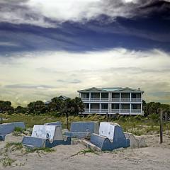 Tybee Island Beach, Georgia, USA (pom'.) Tags: panasonicdmctz101 july 2018 america northamerica usa unitedstatesofamerica georgia savannah tybeeisland tybeeislandbeach 100 200 beach sky clouds americanwayoflife