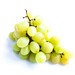 Bunch of fresh green grapes on white background