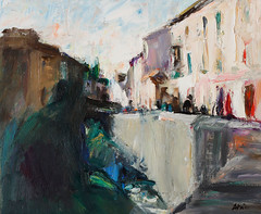 Walking around Granada: Carrera del Darro (http://annafineart.net/) Tags: expressionism imprrssionist contemporary modernart gallery artstudio spain pleinair oilcolors mixed mixedmedia modern landscape landscapes annafineart abstract abstractart abstractpainting art arts painter dailypainter artist oil painting paintings fineart finearts oilmedia oilpainting impasto cityscape city town granada spanish cityscapes street