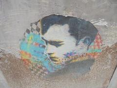 1023 (en-ri) Tags: testa head disegno acquerello firenze wall muro graffit writing ragazzo boy viso volto nero arancione azzurro blu poster manifesto
