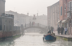 Murano still in the fog (filipmije) Tags: paars murano venice fog foggy bridge canal boat