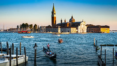 San Giorgio Maggiore (Sworldguy) Tags: a73 camera country italy sonya73 venice piazzasanmarco palladianchurch architecture venezia italia venetianlagoon sunset gondola water waterfront island historical landmark basilica harbor tower europe cathedral sea travelphotography tourism mediterranean orange evening golden grand culture