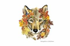 HERBST WOLF, Print Patch zum aufbügeln (patchmonkeys) Tags: patch bügelbild hippie comic style applikation aufbügler print festival blumen design hund transfer