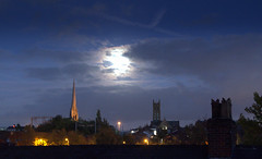 Moon behind clouds over Preston (Tony Worrall) Tags: preston lancs lancashire city welovethenorth nw northwest update place location uk england north visit area attraction open stream tour country item greatbritain britain english british gb capture buy stock sell sale outside outdoors caught photo shoot shot picture captured ashtononribble ashton night ilobsterit instagram dark evening church spire tower tall moon dusk roof rooftops outline