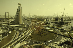 20181024_View from a hotel window (Damien Walmsley) Tags: view hotel room dubai metro metropolis travel trains roads cars bladerunner
