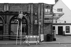 H&S Who's he Then???? (WorcesterBarry) Tags: blackwhite bnw blackandwhite buildings street streetphotography streetphoto shadows england places people photographers outdoors lovebw lines monochrome humour hats candid city display damage advertisement architecture