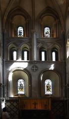 St. Cross Church, East Windows (catrionatv) Tags: winchester stcross 2thcentury stainedglass windows crossofstcross jerusalemcross angledwindow minicathedral normangothic sunlight