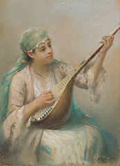Fausto_Zonaro_-_Woman_Playing_a_String_Instrument_-_Google_Art_Project (skaradogan) Tags: fausto zonaro