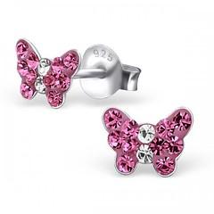 Nous venons de les recevoir !!!  Les boucles d'oreilles Papillon cristal rose sont de nouveau disponibles en stock. (Bijoux Bijoux) Tags: bijoux enfant argent