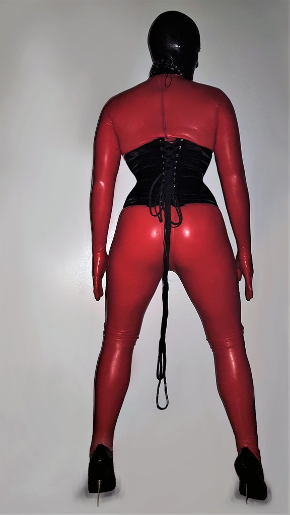 Rubberdoll in red2 (LunaDareKitty) Tags: red latex doll rubber rubberdoll  catsuit shiny fetish