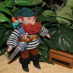 There's treasure in that chest. (Crazyquilter) Tags: forestgnome knitteddoll rupert knittedparrot costume