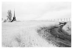 Gløshaug kirke (2018) (phamnes) Tags: church trøndelag norway gartland gløshaugkirke blackandwhitefilm infraredfilm r72filter infraredphotography infrared epsonv600 slr superpan200 rolleisuperpan rollei nikonf301 nikon